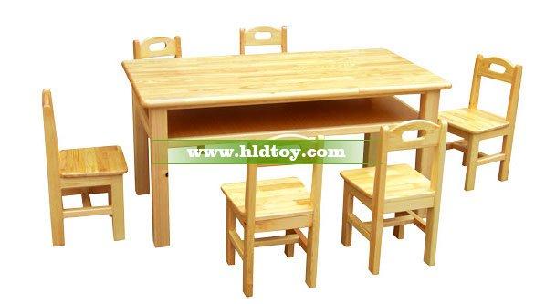 樟子松双层六人桌HG-3803 幼儿园桌椅