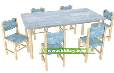 幼儿园可爱长方桌 可搭配6张带靠背椅子